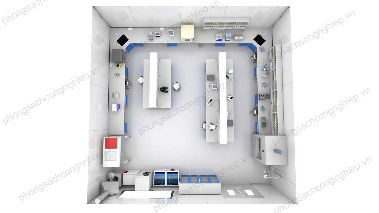 sơ đồ cắt ngang phòng lắp đặt bàn thí nghiệm trung tâm
